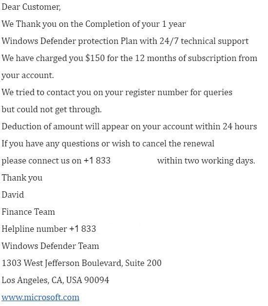 Windows Defender Fake Email